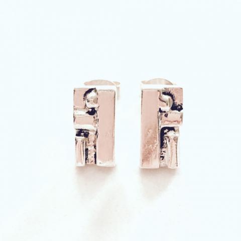 Zilveren 'gesmolten' oorstekers